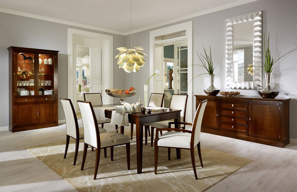 charming dining table in brown and dining chairs with white seat by eurway furniture on wooden floor with rug plus wooden dresser for dining room decor ideas