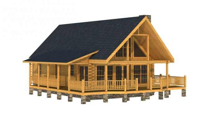 Charming Exterior Design Of Southland Log Homes With Dark Roof And Single Hung Windows Plus Glass Framed Door Ideas