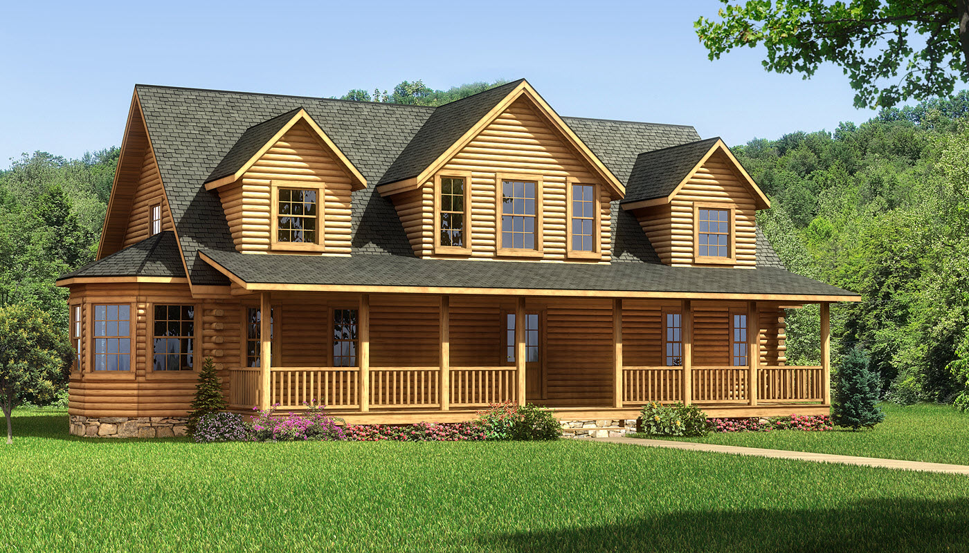 charming exterior design of Southland Log Homes with dark roof and single hung windows plus railing ideas
