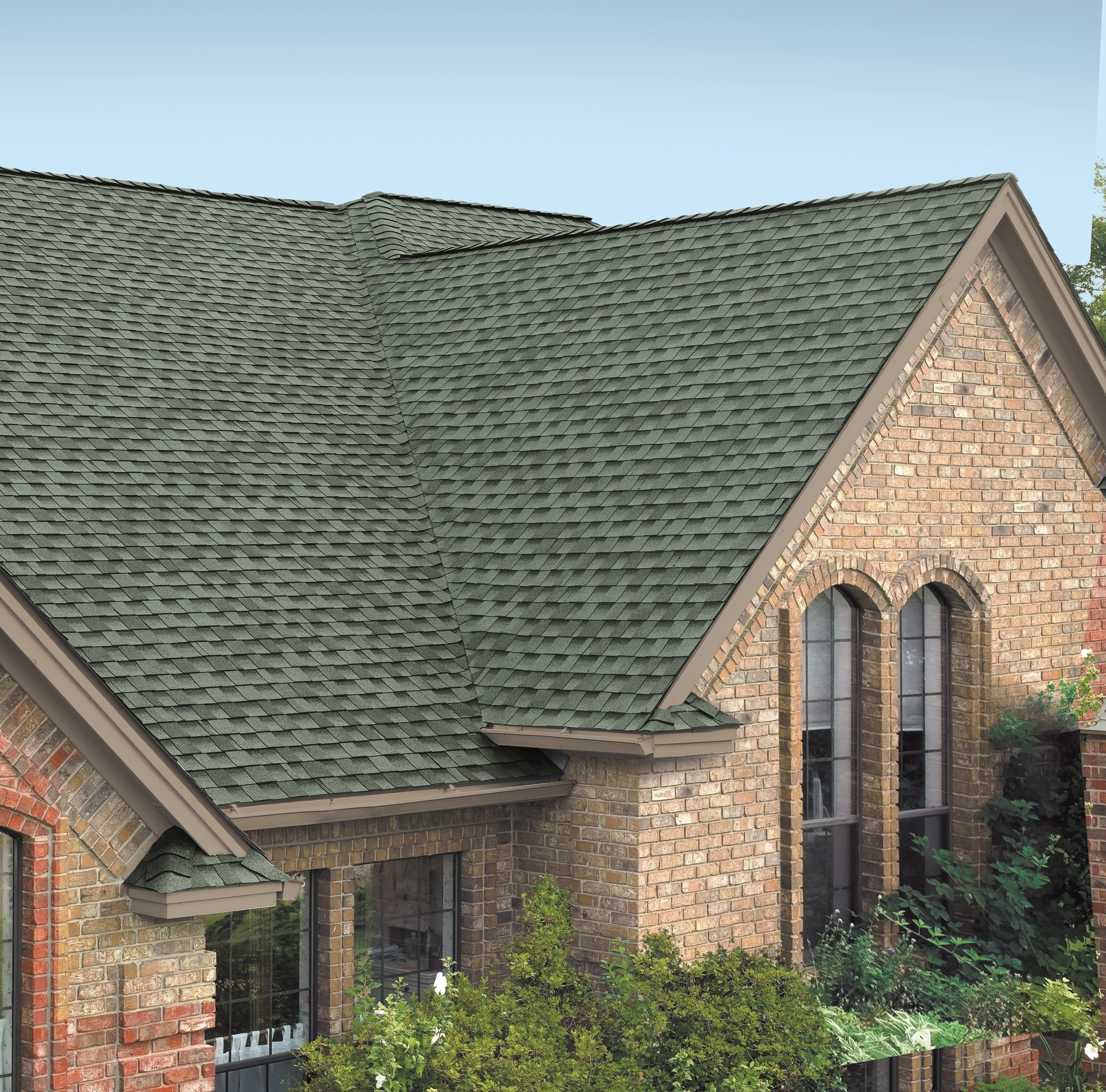 charming gray gaf timberline hd roofing matched with brick siding with glss windows for home exterior design ideas
