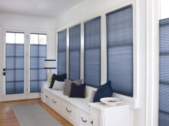 Charming Horizontal Blue Levolor Cellular Shades On Glass Window Matched On White Wall Plus Wooden Bench On Wooden Floor For Interesting Living Room Decor Ideas
