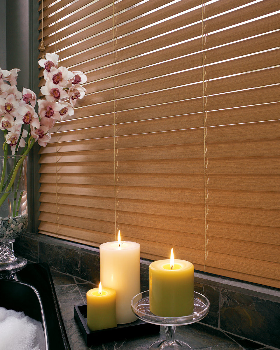 charming horizontal faux wood blinds in cream for window decor ideas