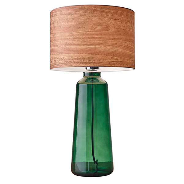 charming Jude Tall Table Lamp by eurway furniture with green glass body and natural wood texture shade for home furniture ideas