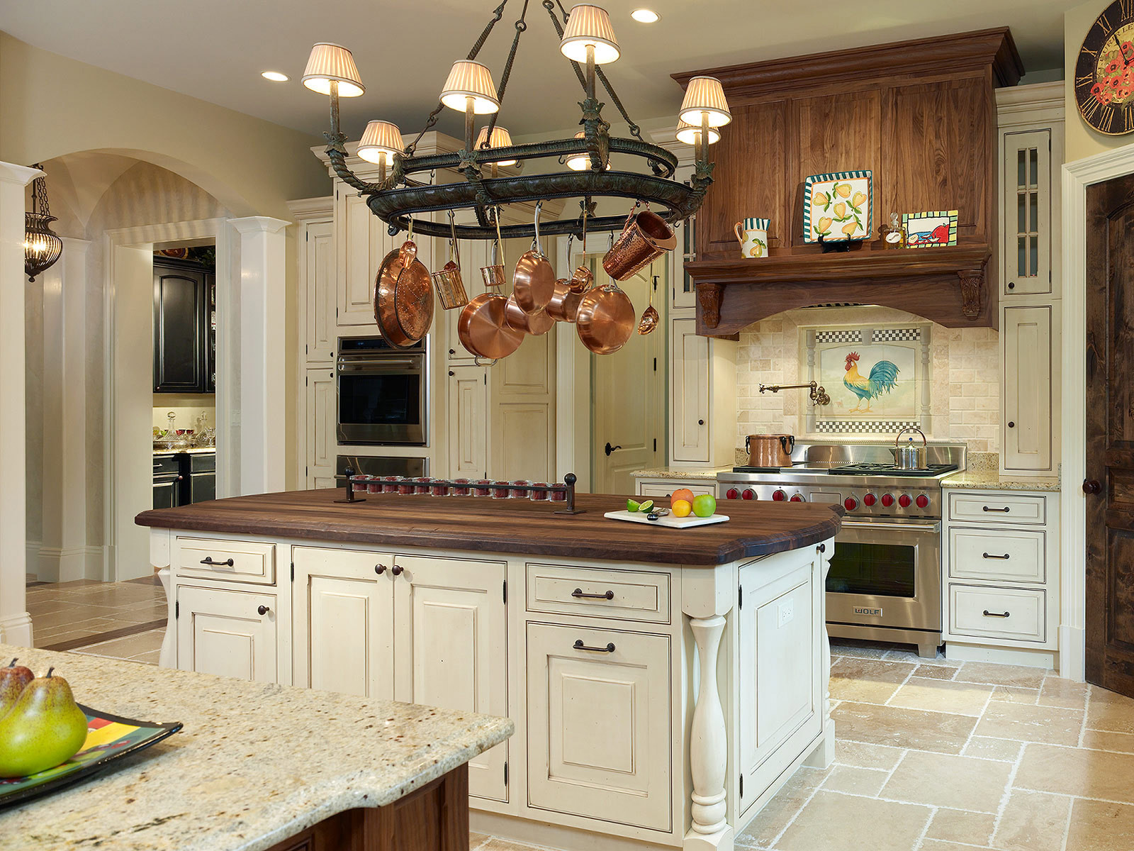 charming kitchen bertch cabinets in white with stove on tile floor plus chandelier for kitchen decor ideas