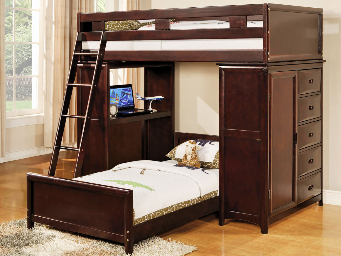 charming loft beds for teenagers in brown with white bedding and desk plus storage on wooden floor matched with white wall for teenager bedroom decor ideas