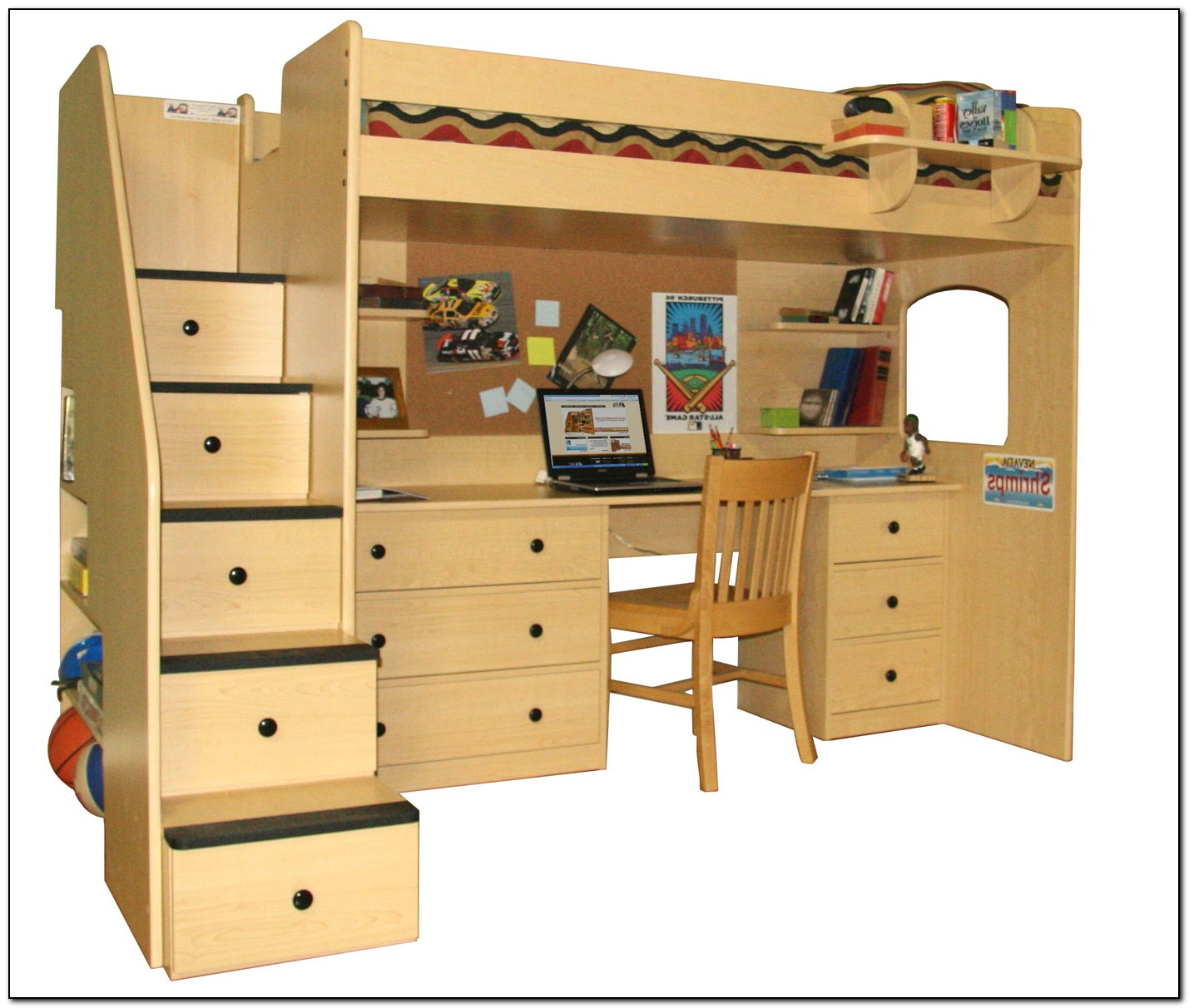 charming loft beds for teenagers in moccasin color with desk and drawers plus stair for teenagers bedroom furniture ideas