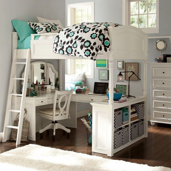 charming loft beds for teenagers in white with desk and shelves on wooden floor matched with gainsboro color wall for teenager bedroom decor ideas