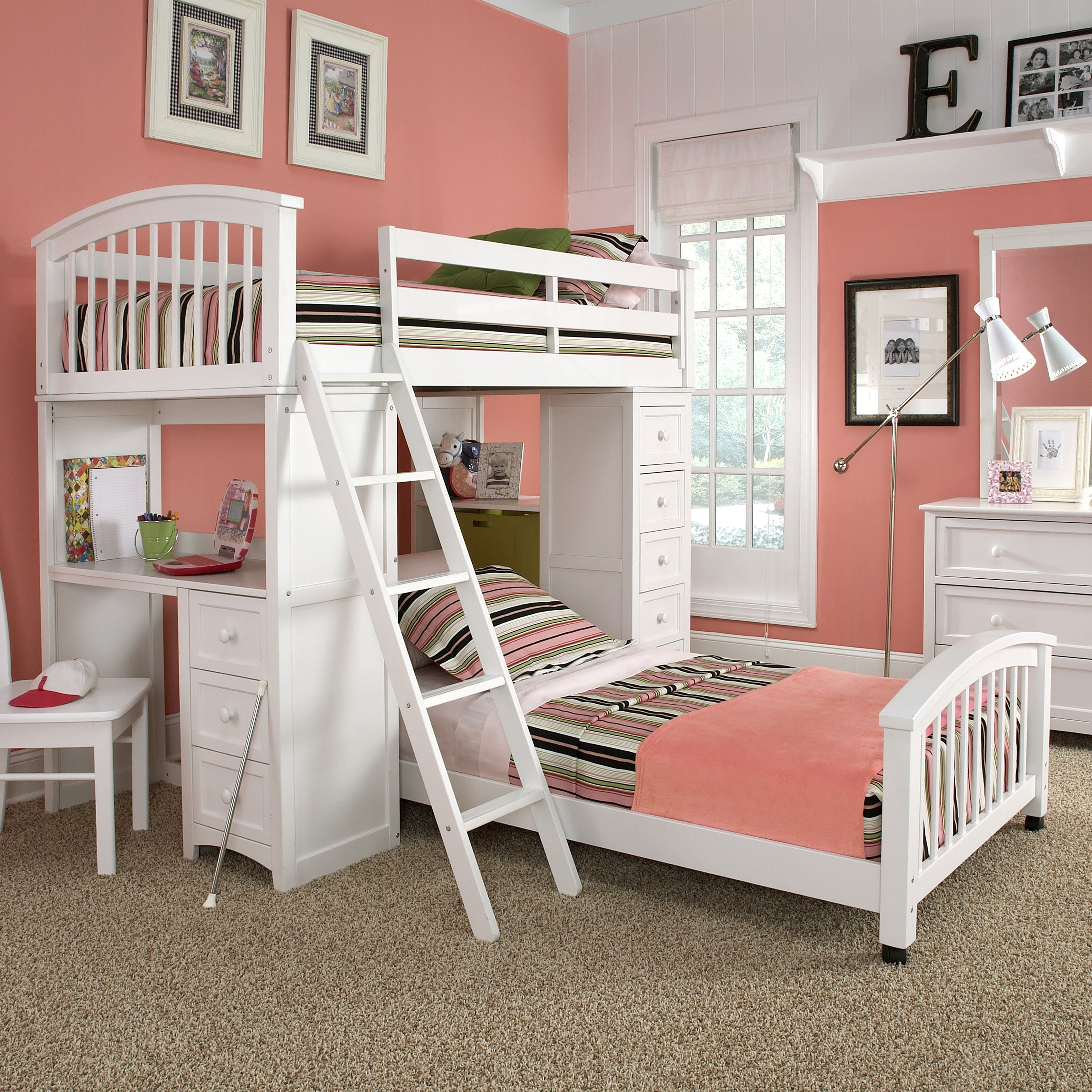 charming loft beds for teenagers in white with pink bedding and desk before the pink wall plus floor standing lamp for girls bedroom decor ideas