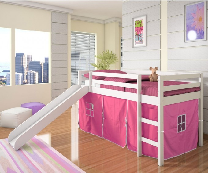 Charming Loft Beds For Teenagers In White With Pink Bedding And Pink Curtain On Wooden Floor With Striped Rug Matched With White Wall For Girls Bedroom Decor Ideas