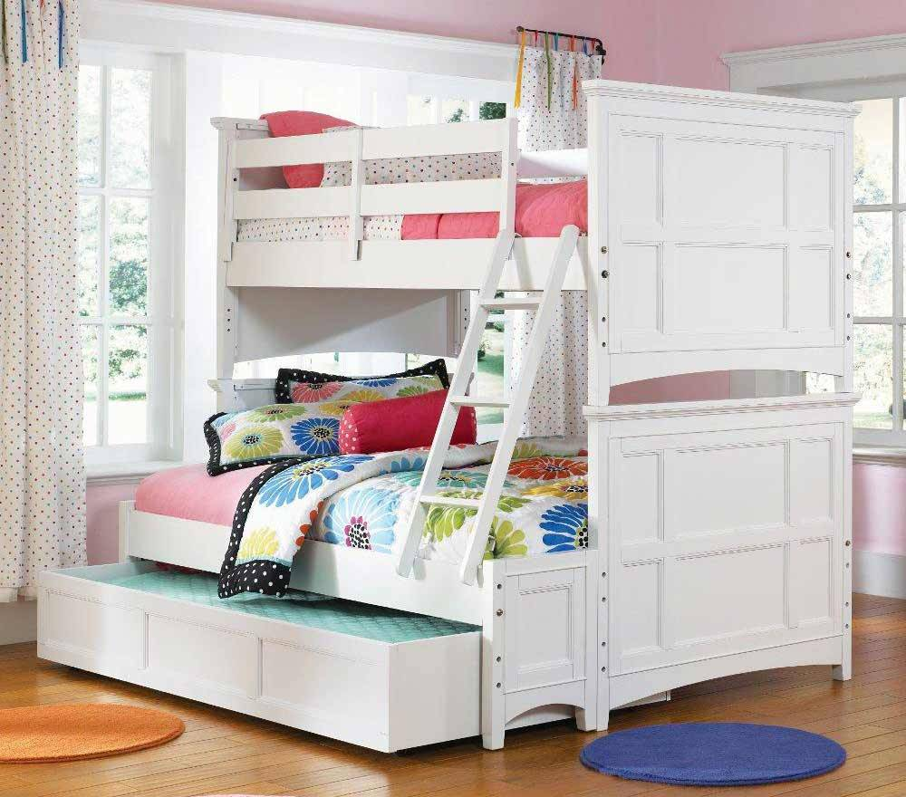 Charming Loft Beds For Teenagers In White With Stair And Drawer On Wooden Floor Matched With Pink Wall With White Window For Girls Bedroom Decor Ideas