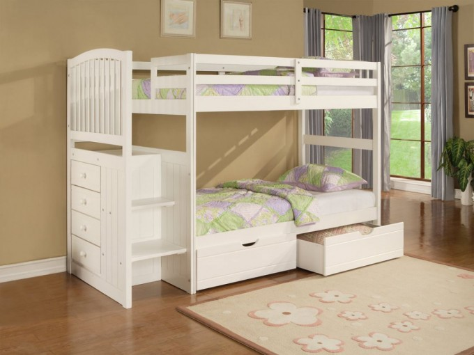Charming Loft Beds For Teenagers In White With Storage On Wooden Floor With Beige Rug Matched With Beige Wall With Glass Window And Gray Curtain For Teenager Bedroom Decor Ideas