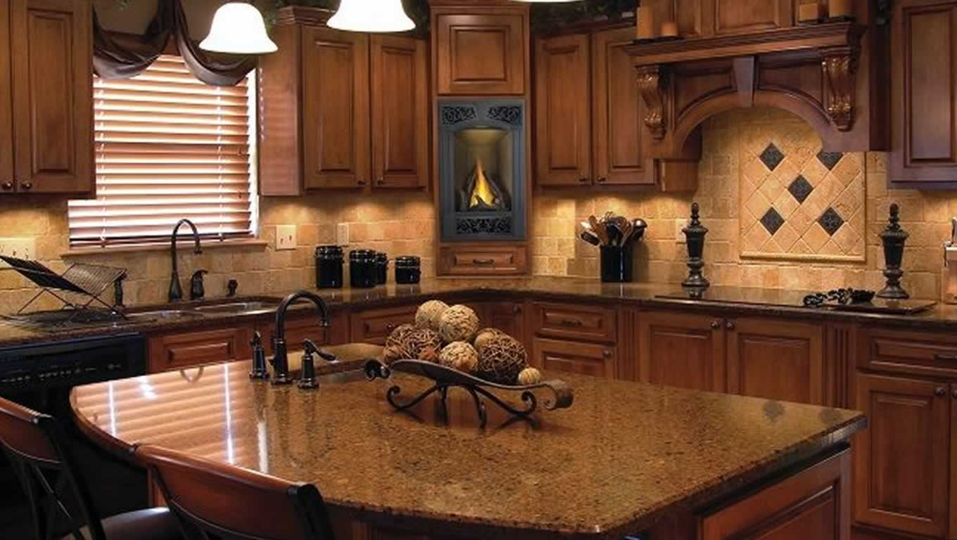 charming napoleon fireplace matched on wooden kitchen cabinet with granite countertop for kitchen decor ideas