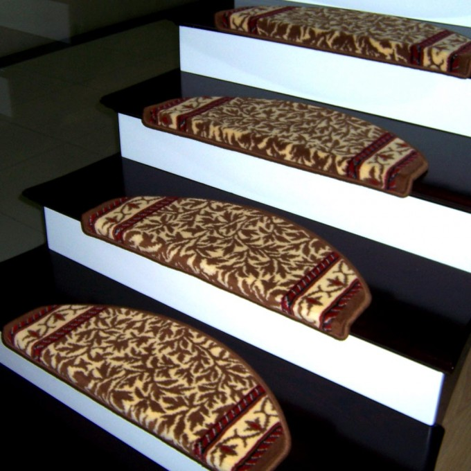Charming Non Slip Stair Treads In Floral Brown Motif On Black Stepping Stair For Stair Ideas