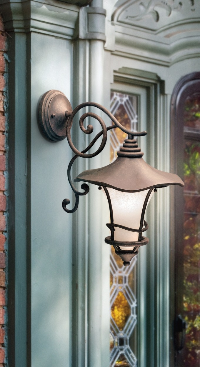 Charming Outdoor Wall Sconce By Cardello Lighting And Decor On Blue Trim Board Door For Home Exterior Design Ideas