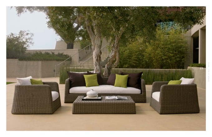 Charming Rattan Sofa With White Cushion Seat And Rectangle Rattan Table By Janus Et Cie Outdoor Furniture For Outdoor Living Ideas