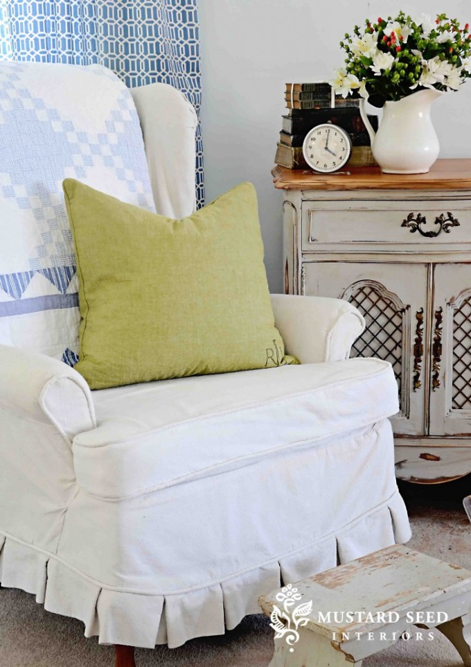 Charming Single Sofa With Wingback Chair Slipcover In White And Cute Motif On Back Home Furniture Ideas