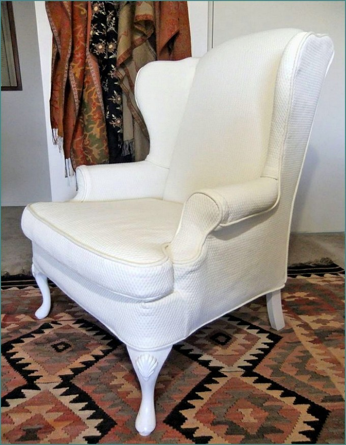 Charming Single Sofa With Wingback Chair Slipcover In White For Home Furniture Ideas