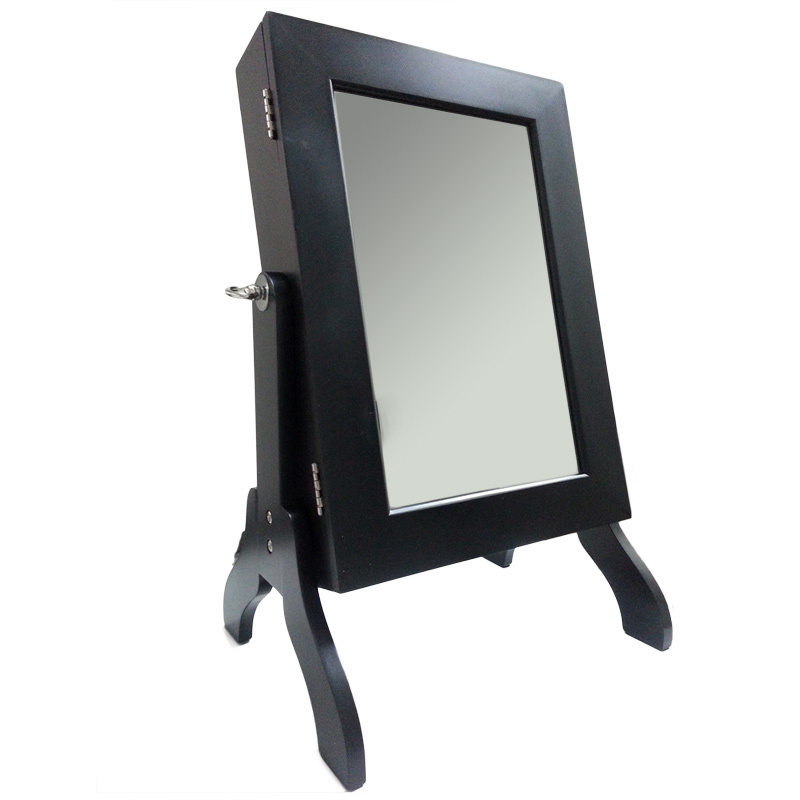 charming small wooden standing mirror jewelry armoire in black for home furniture ideas