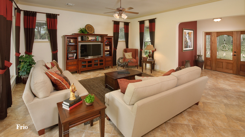 charming tilson homes living room with white sofa set on beige tile floor plus wooden buffet and television ideas