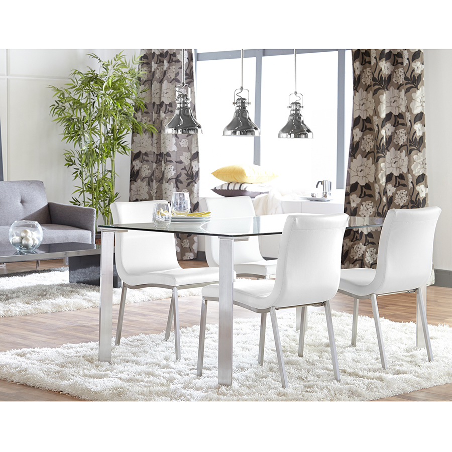 charming white dining table by eurway furniture on wooden floor with white rug matched with white wall with floral curtain for dining room decor ideas
