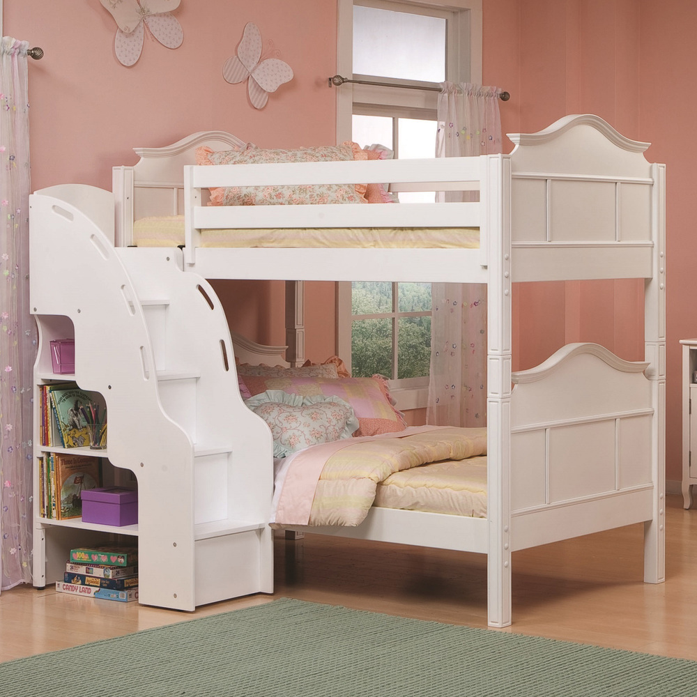 charming white loft beds for teenagers with book shelves and decorative stair on wooden floor with green rug matched with pink wall with windows and curtains for girls bedroom decor ideas