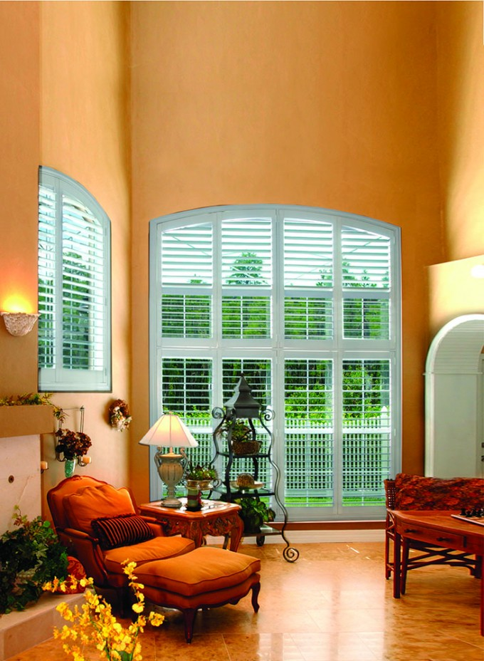Charming White Sunburst Shutters On Yellow Wall Matched With Orange Tile Floor Plus Sofa For Living Room Decor Ideas