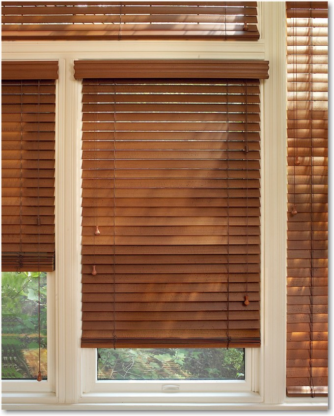 Charming White Window With Brown Faux Wood Blinds For Home Decor Ideas