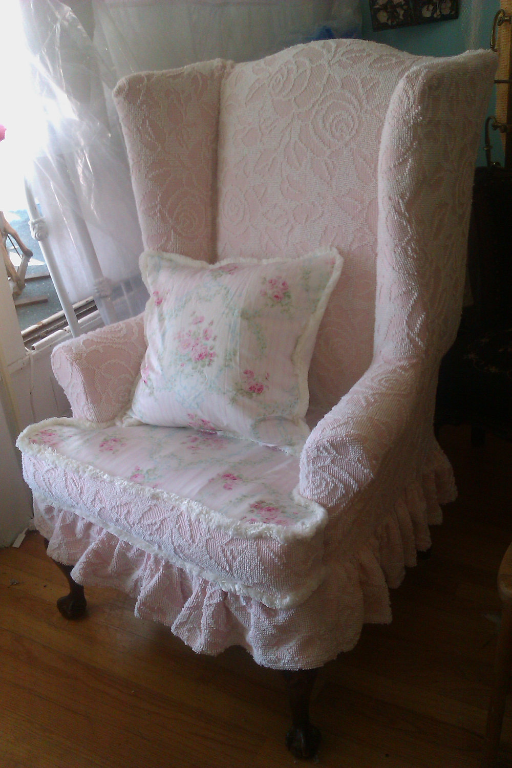 Charming Wingback Chair Slipcover In Floral Pink And White For Sofa Ideas