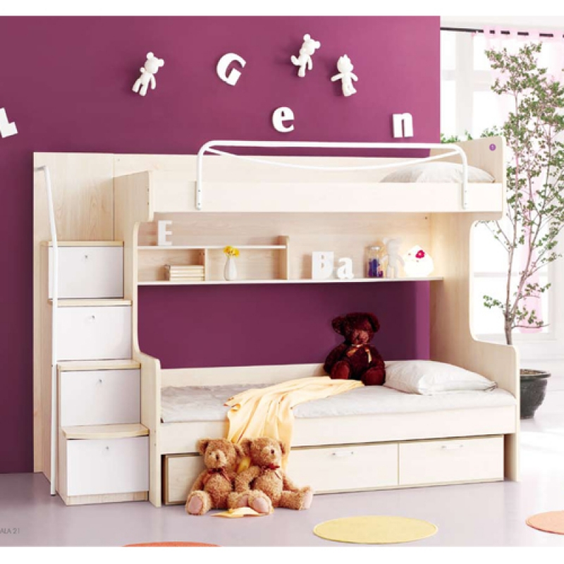 charming wood Bunk Beds With Stairs and drawers plus white bedding set before the purple wall matched with white tile floor for girl bedroom decor ideas