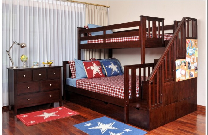 Charming Wood Bunk Beds With Stairs In Brown With Storage On Wooden Floor Matched With White Wall With Window And Curtains For Teen Bedroom Decor Ideas
