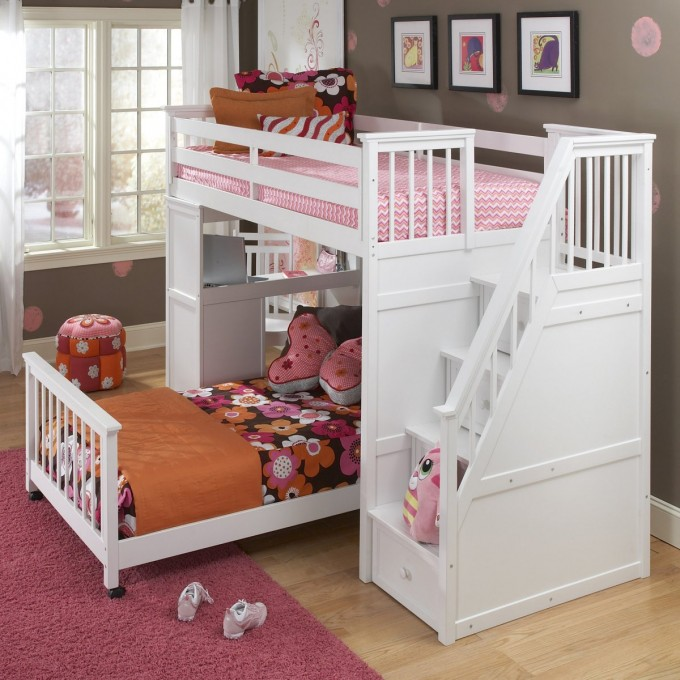 Charming Wood Bunk Beds With Stairs In White With Desk On Wooden Floor With Pink Rug Matched With Gray Wall With Baseboard Molding For Teen Bedroom Decor Ideas