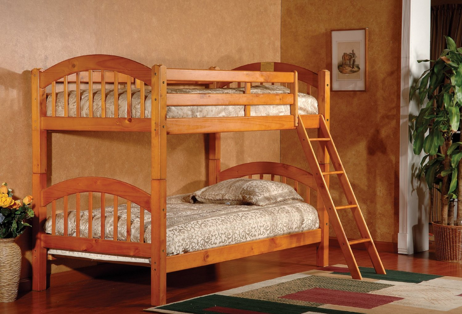 charming wood Bunk Beds With Stairs on wooden floor matched with wheat wall with picture plus checked rug for teen bedroom decor ideas