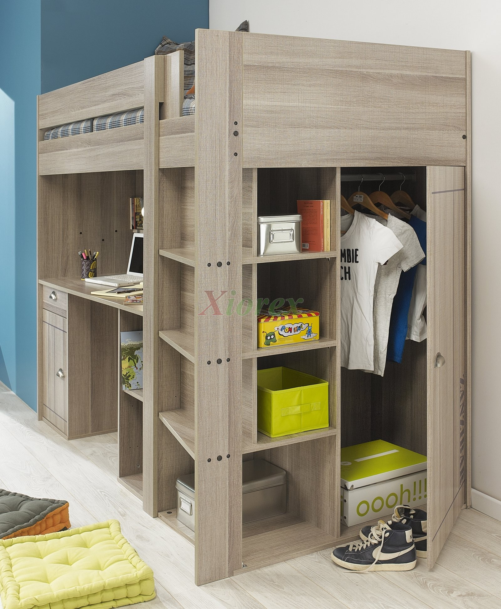 charming wood loft beds for teenagers with desk and shelves plus wardrobe on white tile floor for boy bedroom decor ideas