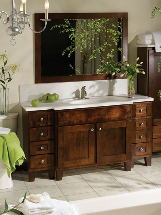 charming wooden bathroom bertch cabinets in brown with white countertop and sink plus faucet before the white wall with mirror for bathroom decor ideas