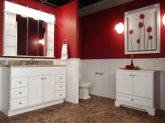 Charming Wooden Bathroom Bertch Cabinets In White Before The White Wainscoting And Red Wall With Lights For Bathroom Decor Ideas