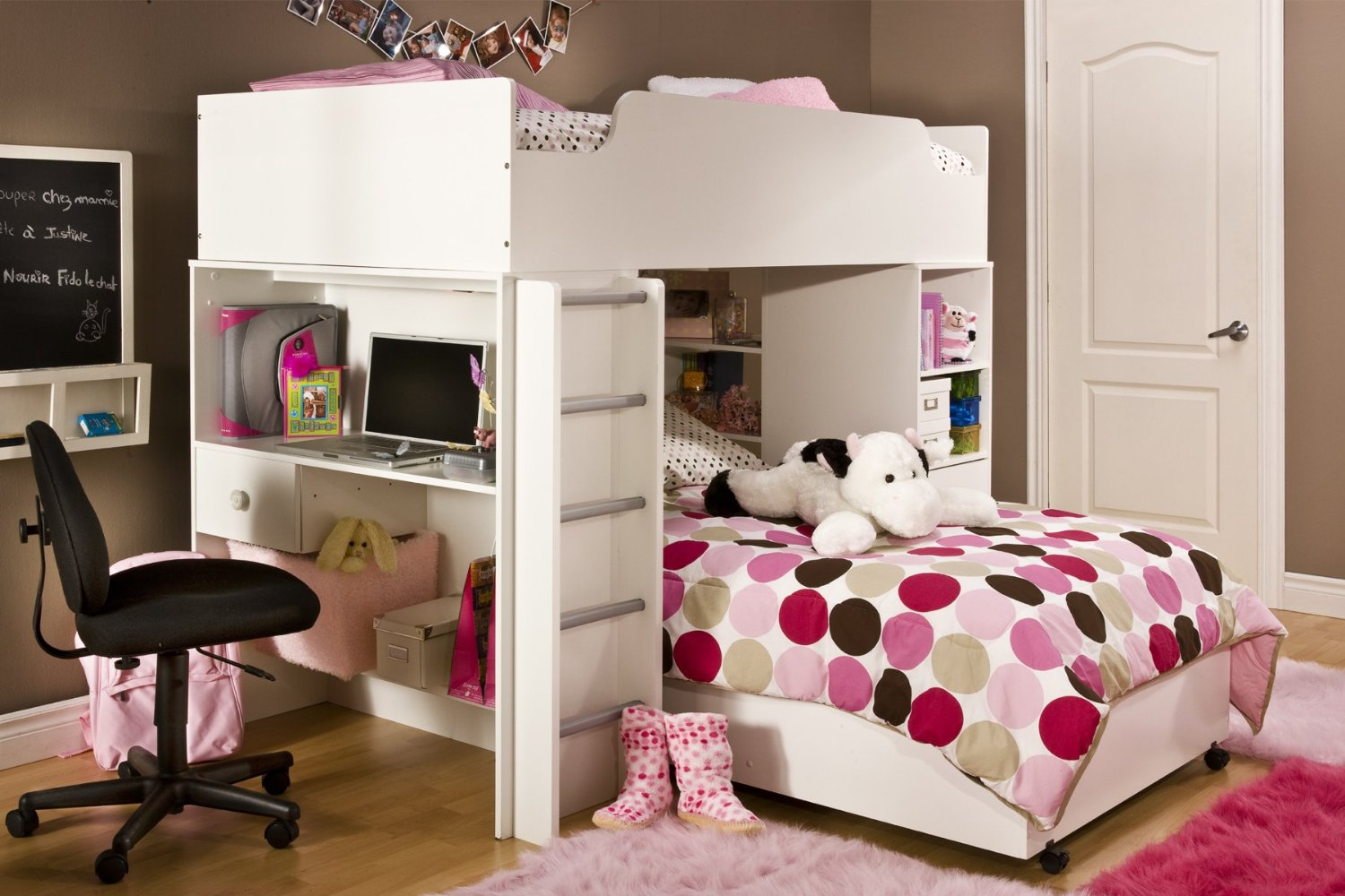 Charming Wooden Loft Beds For Teenagers In White With Dotted Bedding Plus Desk On Wooden Floor Matched With Tan Wall For Great Teens Bedroom Decor Ideas