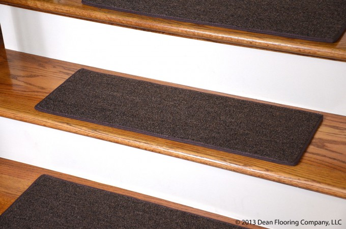 Charming Wooden Stair Using Brown Non Slip Stair Treads For Home Ideas