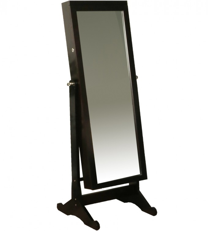 Charming Wooden Standing Mirror Jewelry Armoire In Black For Home Furniture Ideas