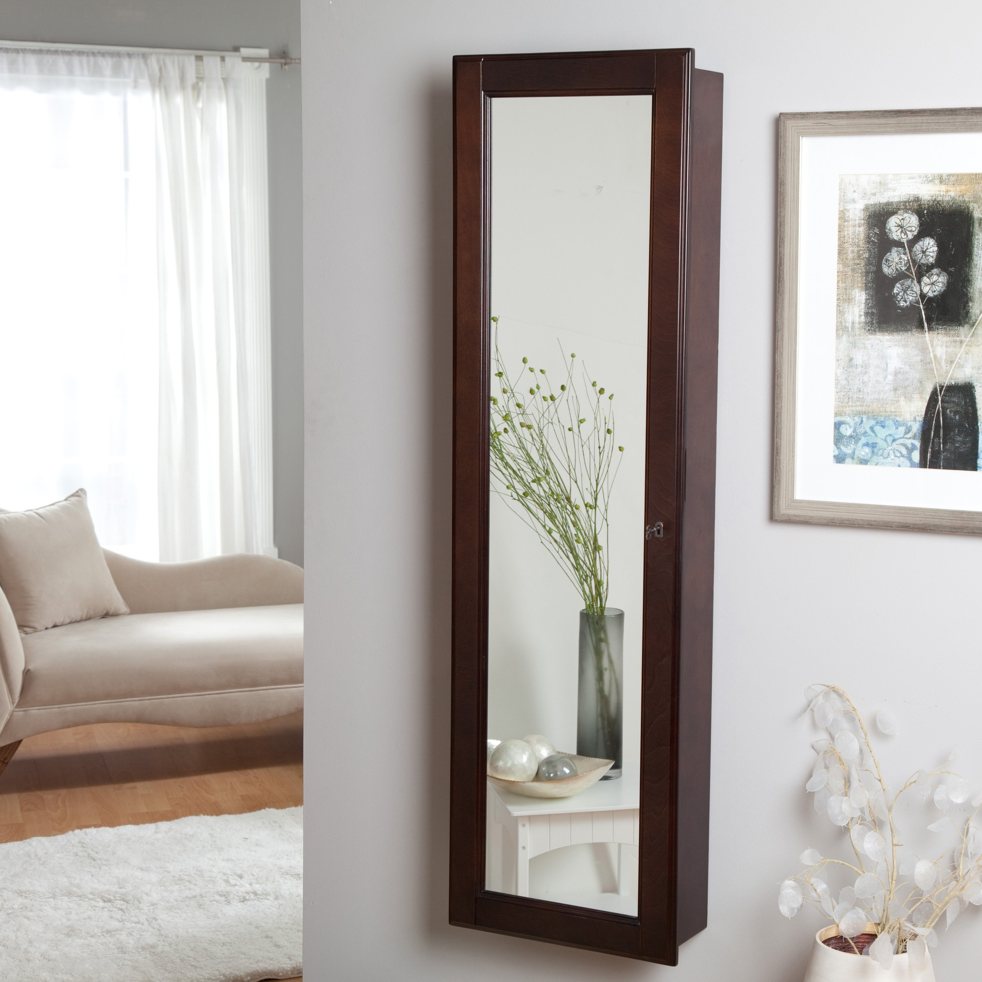 Charming Wooden Standing Mirror Jewelry Armoire In Brown Without Stand On White Wall Matched With Wooden Floor For Living Room Decor Ideas