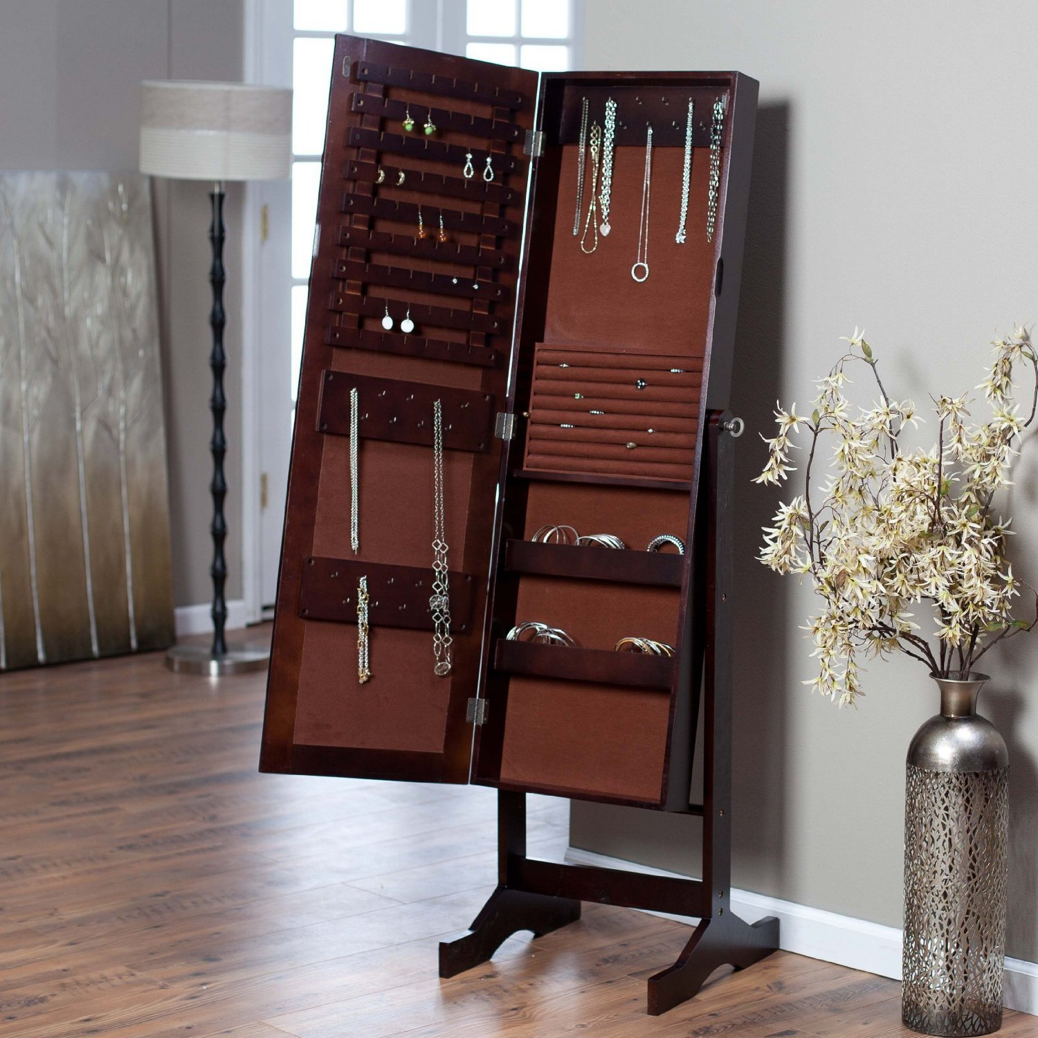 Charming Wooden Standing Mirror Jewelry Armoire In Espresso On Wooden Floor Matched With Gainsboro Color Wall For Living Room Decor Ideas
