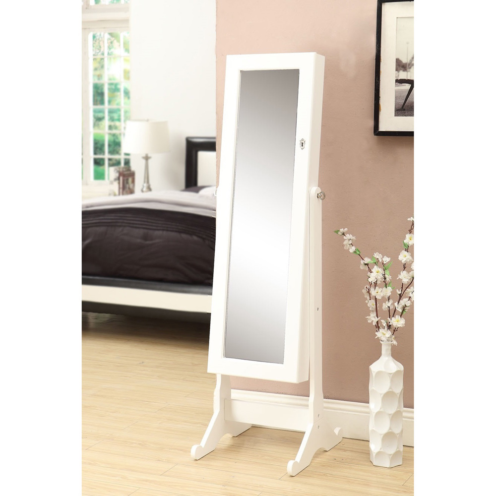 charming wooden standing mirror jewelry armoire in white on wooden floor matched with salmon wall for living room decor ideas