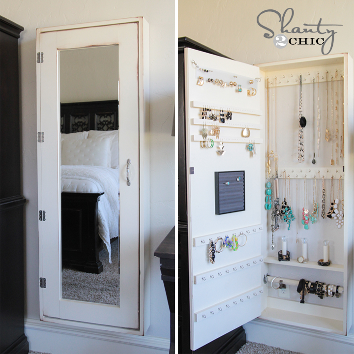 charming wooden standing mirror jewelry armoire in white with silver handle for bedroom decor ideas
