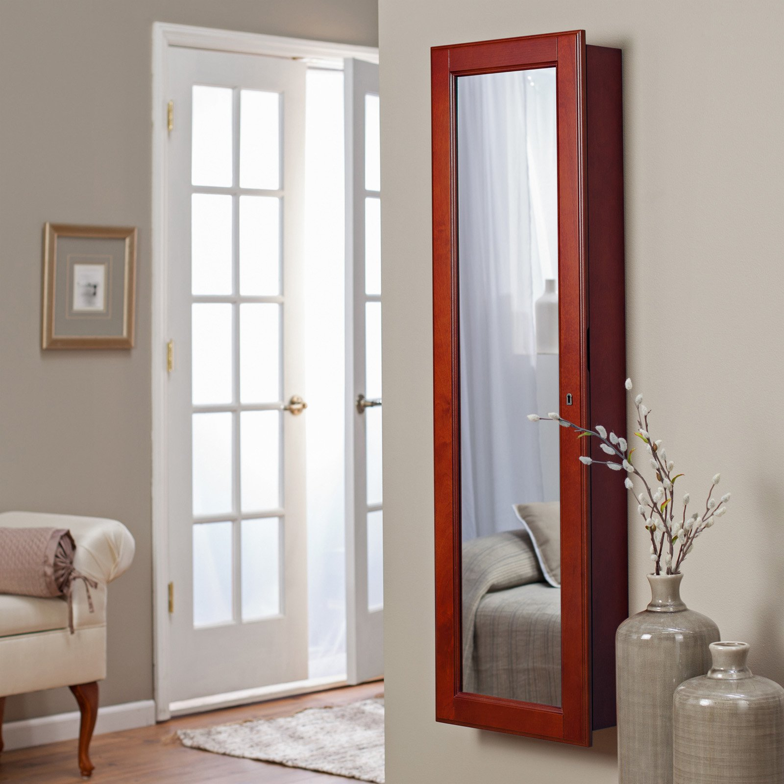 Charming Wooden Standing Mirror Jewelry Armoire Without Stand In Red On Wooden Floor Before The Gainsboro Wall For Living Room Decor Ideas