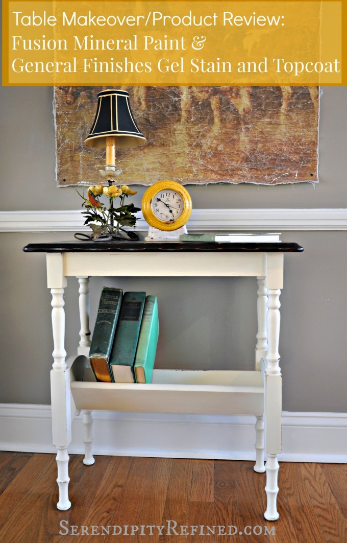 Charming Wooden Table Using General Finishes Java Gel Stain In White With Black Top Before The Gray Wall Plus Light For Home Decor Ideas