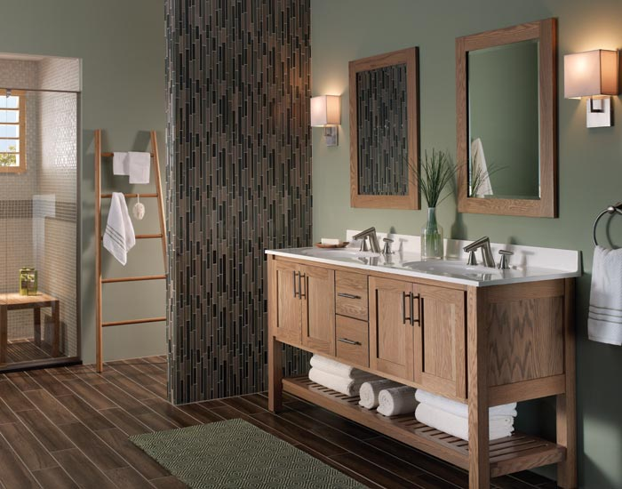 Chic Bathroom Bertch Cabinets With White Countertop And Sink Plus Faucet Before The Green Wall Matched With Wooden Floor For Bathroom Decor Ideas