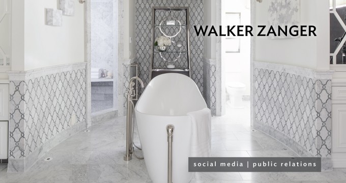 Chic Bathup On Walker Zanger Tile Floor Matched With White Wall And Wainscoting For Bathroom Decor Ideas