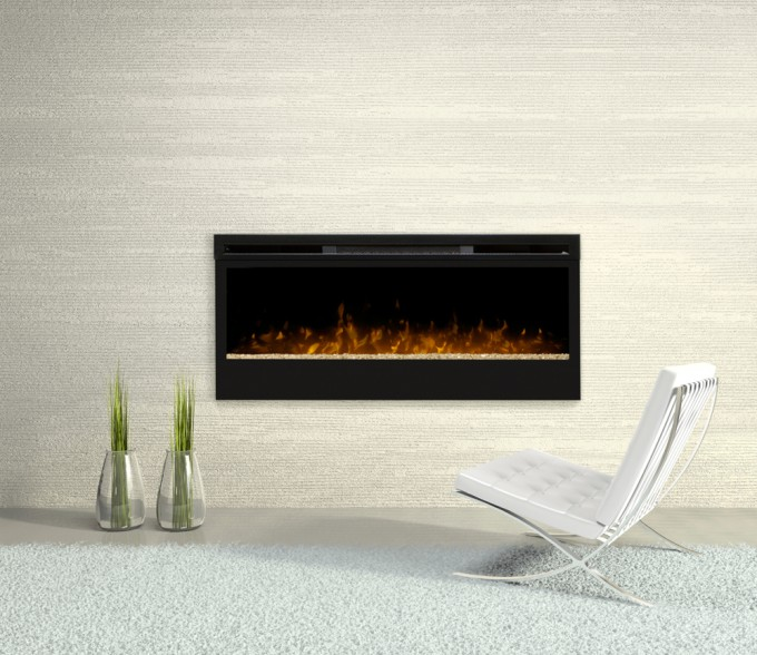 Chic Black Dimplex Electric Fireplaces On White Wall Matched With White Floor Plus Single Chair For Home Heatwarming Ideas