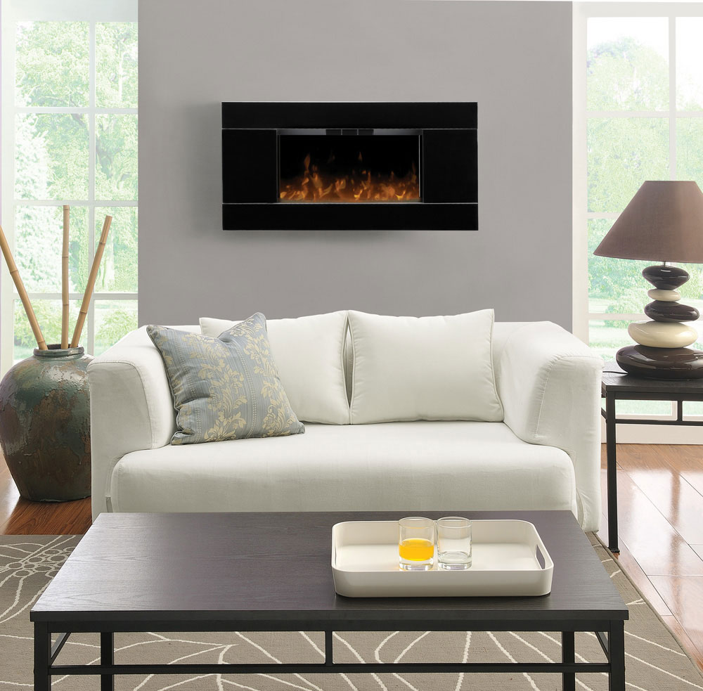 chic black dimplex electric fireplaces on white wall matched with wooden floor plus white sofa and gray rug for family room decor ideas