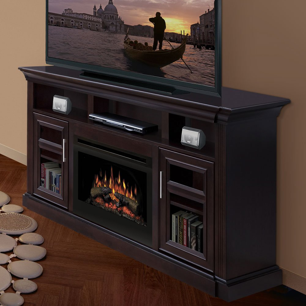 chic black dimplex electric fireplaces on wooden buffet with tv and dvd stand before the tan wall matched with wooden floor for family room decor ideas