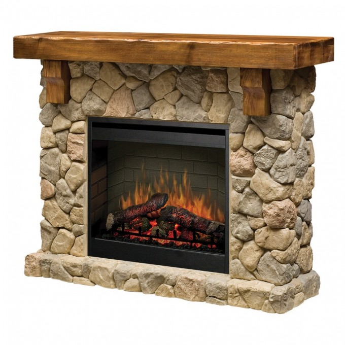 Chic Black Framed Dimplex Electric Fireplaces With Natural Stone Mantel Kit For Home Heatwarming Ideas